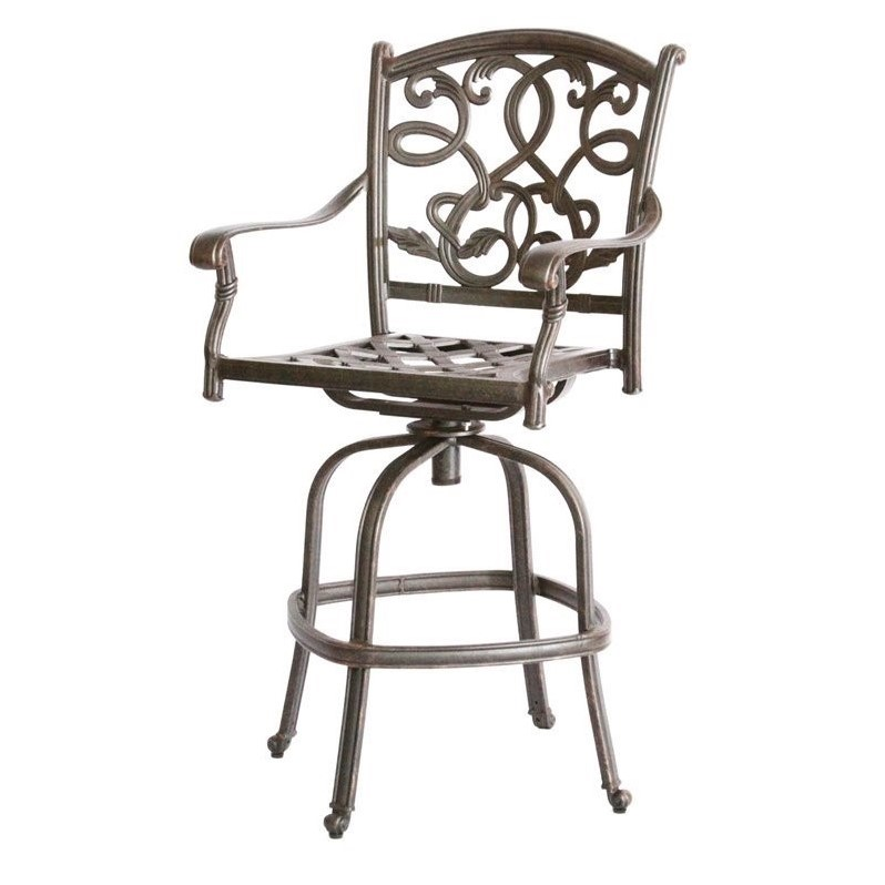 Darlee Santa Monica 5 Piece Patio Pub Set in Antique Bronze