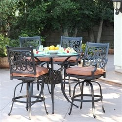 Darlee St. Cruz 5 Piece Patio Pub Set in Antique Bronze