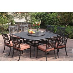 Darlee St. Cruz 9 Piece Square Patio Dining Set in Antique Bronze
