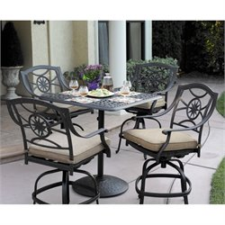 Darlee Ten Star 5 Piece Patio Counter Height Pub Set in Antique Bronze