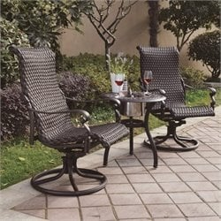 Darlee Victoria 3 Piece Wicker Patio Pub Set in Espresso