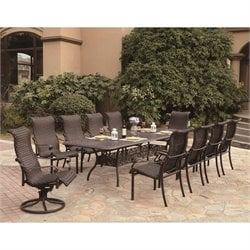 Darlee Victoria 11 Piece Wicker Patio Dining Set in Espresso