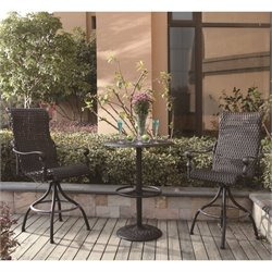 Darlee Victoria 3 Piece Wicker Patio Round Pub Set in Espresso