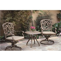 Darlee Florence 3 Piece Patio Bistro Set with Seat Cushion
