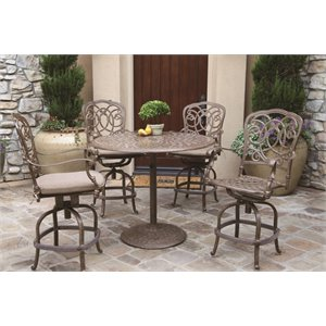 Darlee Florence 5 Piece Patio Counter Height Pub Set with Seat Cushion