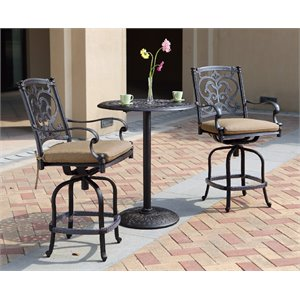 Darlee Santa Barbara 3 Piece Patio Counter Height Pub Set with Cushion