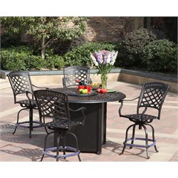 Darlee Sedona 5 Piece Patio Counter Height Propane Fire Pit Set