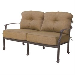 Darlee Camino Real Patio Loveseat with Cushion in Antique Bronze