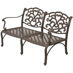 Darlee Catalina Patio Loveseat with Cushion in Antique Bronze