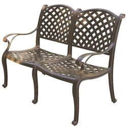Darlee Nassau Patio Bench with Sesame Seat Cushion in Antique Bronze