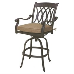Darlee San Marcos Swivel Patio Bar Stool in Antique Bronze (Set of 2)