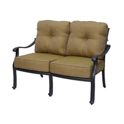 Darlee San Marcos Patio Loveseat with Cushion in Antique Bronze