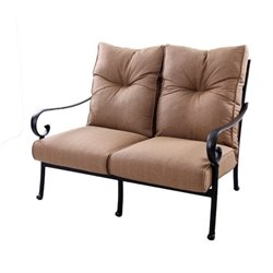 Darlee Santa Anita Patio Loveseat with Cushion in Antique Bronze