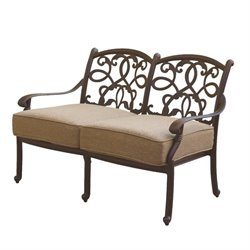 Darlee Santa Monica Patio Loveseat with Cushion in Antique Bronze