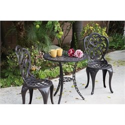 Darlee Hampton 3 Piece Patio Bistro Set in Antique Bronze