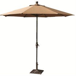 Darlee Patio 9' Auto Tilt Patio Market Umbrella with Brown Canopy