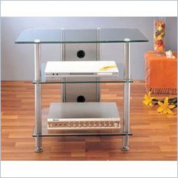 VTI AGR Series 30 Inch Silver Plasma/LCD Metal and Tempered Glass TV Stand