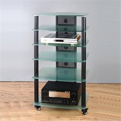 VTI NGR Series Audio Rack - Silver Frame and Clear Glass