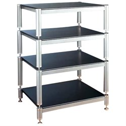 VTI BL Series 4 Shelf Audio Rack - Black / Black / Black