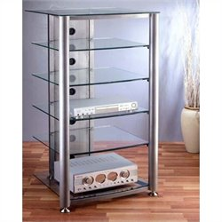 VTI RGR-406 6 Shelf  Silver Glass Audio Rack - Black Frame / Clear Shelves
