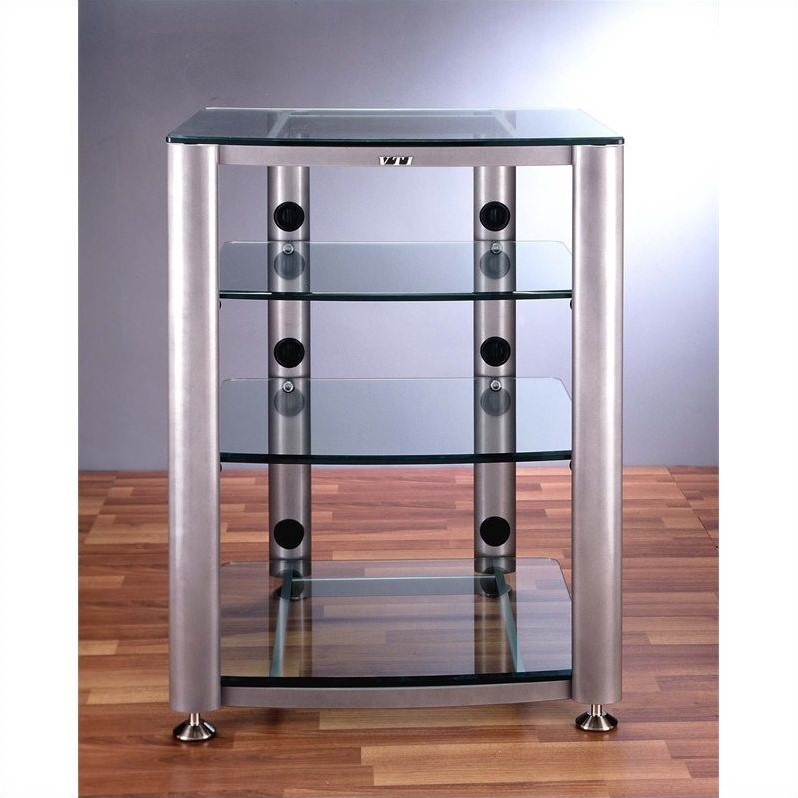4 Shelf Glass Audio Cabinet/Rack