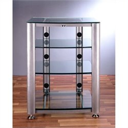 VTI HGR404 4 Shelf Glass Audio Cabinet/Rack - Black / Clear