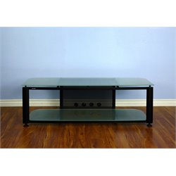 VTI HGR Series Plasma/LCD TV Stand - Black Pole / Clear Glass