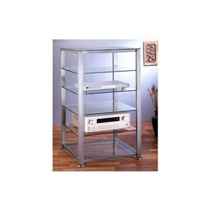 EGR406 6 Shelf Silver Glass Audio Cabinet/Rack