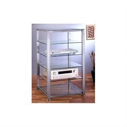 VTI EGR406 6 Shelf Silver Glass Audio Cabinet/Rack - Black