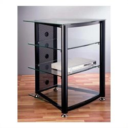 VTI RGR-404  4 Shelf Black Audio Rack - Black Poles / Clear Glass