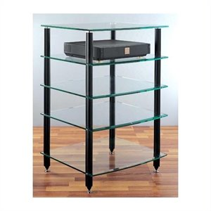5 Shelf Black Glass Audio Rack