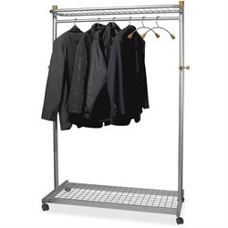 Alba 2-shelf Mobile Chrome Coat Rack