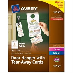 Avery Laser Inkjet Tear-Away Cards Door Hanger