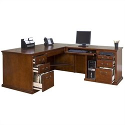 Kathy Ireland Home L Shaped Executive Computer Desk in Burnish