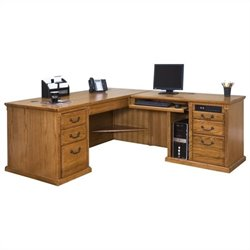 Kathy Ireland Home by Martin Huntington Oxford L-Shape RHF Executive Desk in Wheat