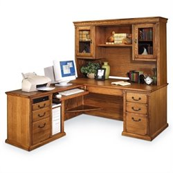 Kathy Ireland Home by Martin Huntington Oxford L-Shape LHF Executive Desk with Hutch in Wheat