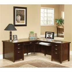 Kathy Ireland Home by Martin Tribeca Loft Cherry RHF L-Shaped Executive Desk