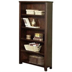 Kathy Ireland Home by Martin Tribeca Loft 5 Shelf Open Wood Bookcase in Cherry