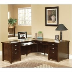 Kathy Ireland Home by Martin Tribeca Loft Cherry LHF L-Shaped Executive Desk