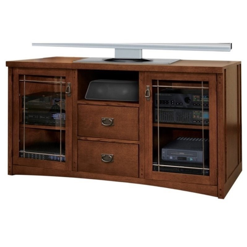 Kathy Ireland Home by Martin Mission Pasadena Wood Plasma TV Stand in Brown Finish