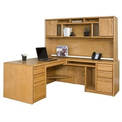 Martin Furniture Contemporary RHF L-Shape Home Office Set in Medium Oak