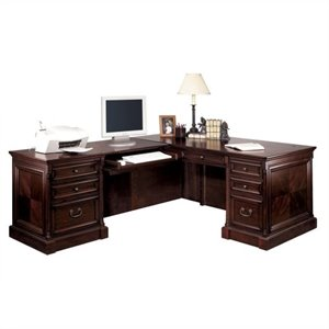 Kathy Ireland Home by Martin Mount View Executive LHF L-Shaped Desk in Cherry Cobblestone