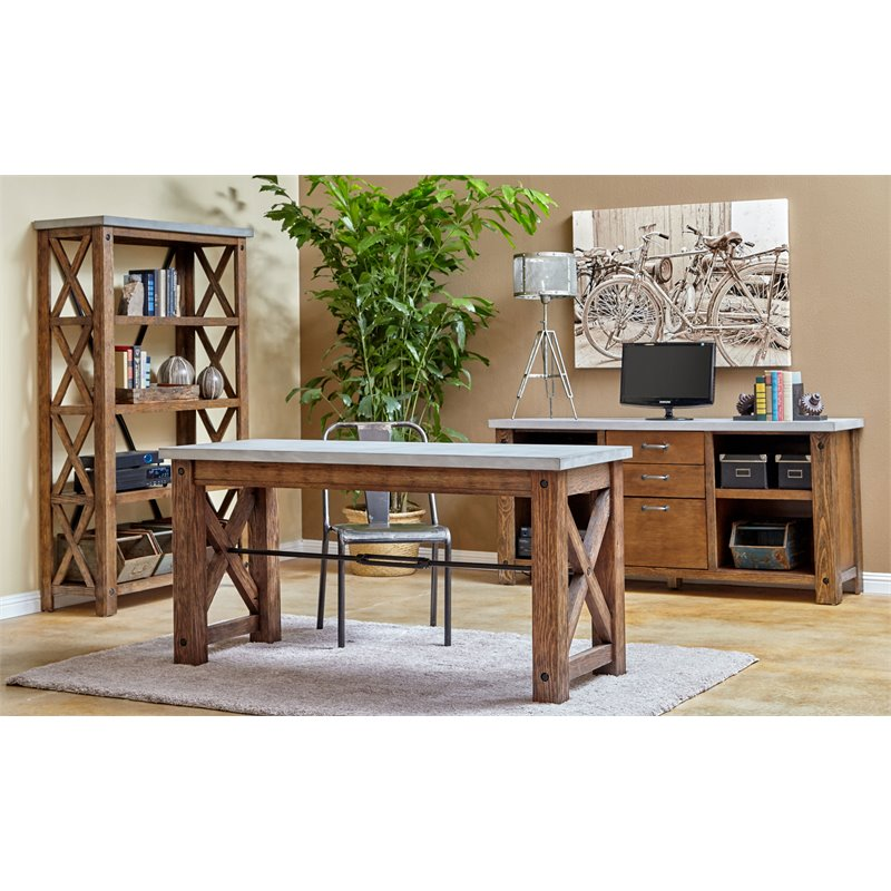 Martin Furniture Paxton Spur Writing Desk In Rustic Sienna