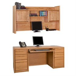 Martin Furniture Contemporary Computer Credenza with Hutch in Medium Oak