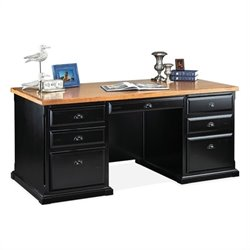 Kathy Ireland Home by Martin Southampton Double Pedestal Executive Desk in Distressed Onyx
