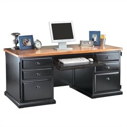 Kathy Ireland Home by Martin Southampton Double Pedestal Computer Desk in Onyx Black