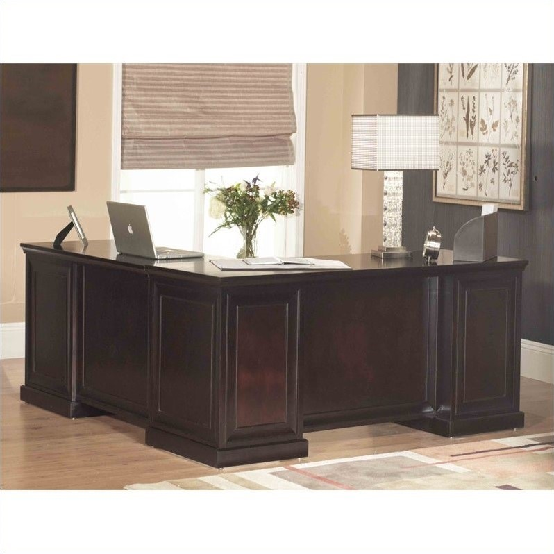 Kathy Ireland Home by Martin Fulton L Shaped Computer Desk in Espresso