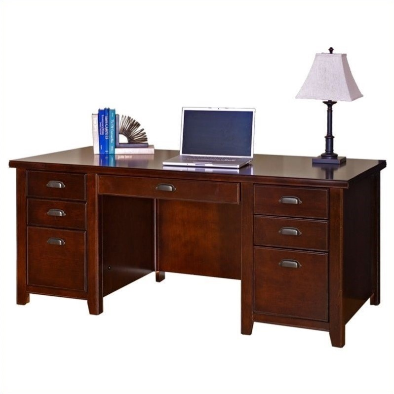 Martin Furniture Tribeca Loft Double Pedestal Wood Executive Desk In Cherry