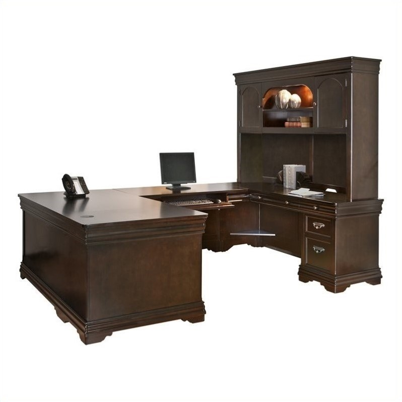 Martin Furniture Beaumont U-Shaped Desk with Hutch in Deep Java Finish