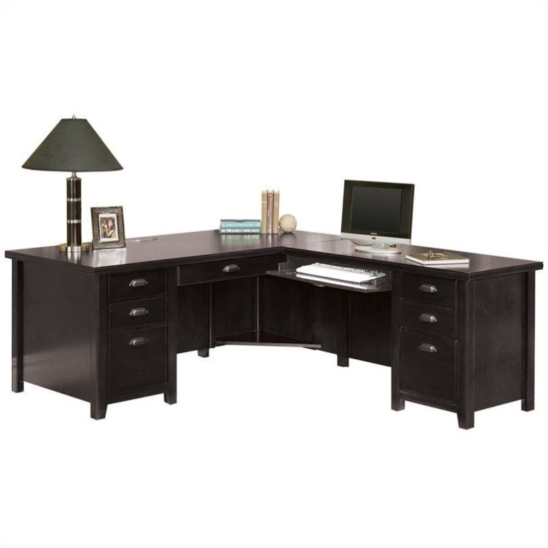Kathy Ireland Home by Martin Tribeca Loft Black Right Hand Executive Desk